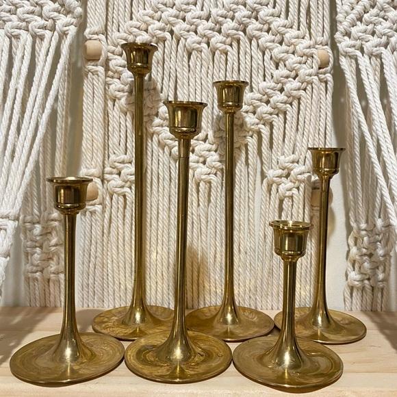 Vintage Set of 7 Brass Candlesticks Candle Holders